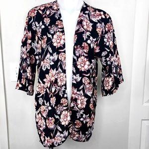 Pink Rose Floral Cardigan Kimono Top Black S/M